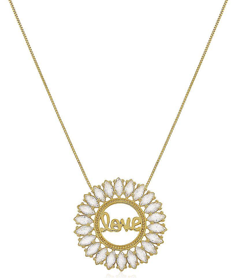 Colar Love Medalha Zircônia Dourado Duquesa Semi joias