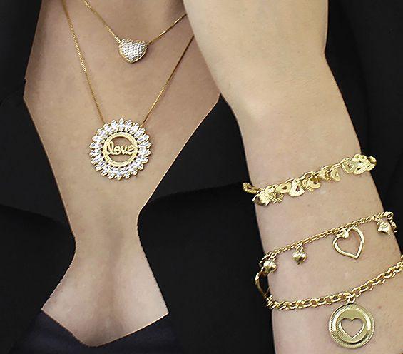 Colar Love Mandala Zircônia Dourado Duquesa Semi joias