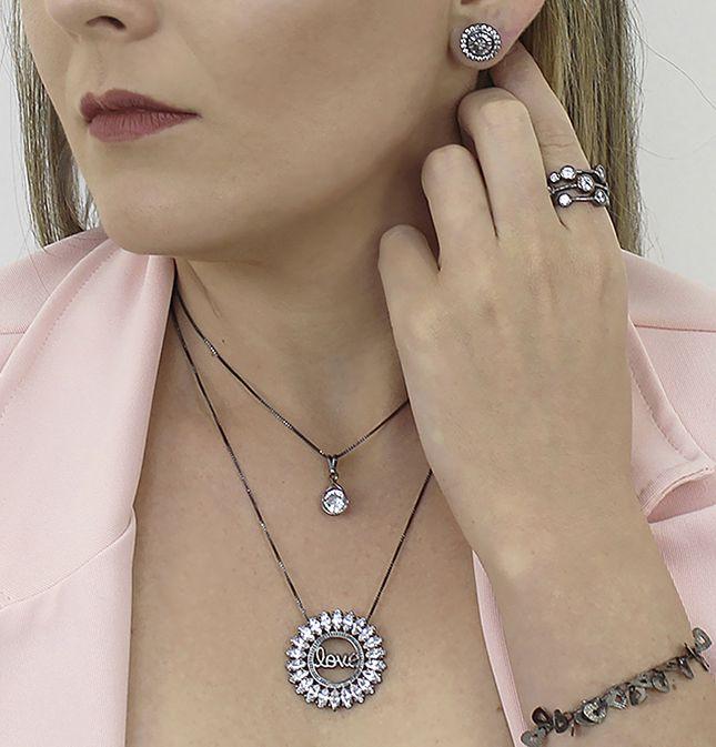 Colar Love Mandala Zircônia Negro Duquesa Semi joias
