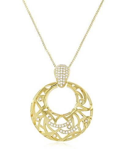 Colar Luxo Argola com Zircônia Dourado Duquesa Semi joias