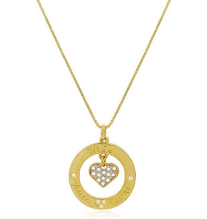 Colar Mãe Eterno Amor Coração Dourado Duquesa Semi joias