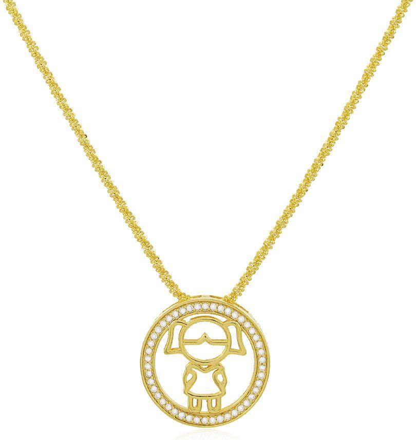 Colar Mandala Menina Cravejado Dourado Duquesa Semi joias