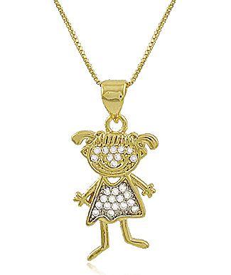 Colar Menina Cravejado Zircônia Dourado Duquesa Semi joias