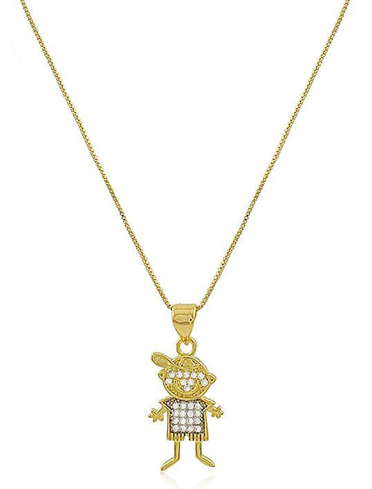 Colar Menino Cravejado Zircônia Dourado Duquesa Semi joias