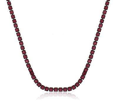 Colar Modelo Riviera Zircônia Rubi Negro Duquesa Semi joias