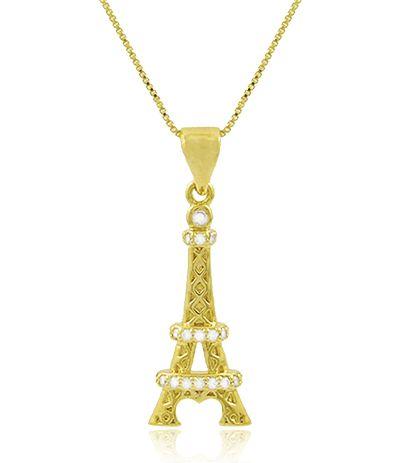 Colar Paris Zircônia Cristal Dourado Duquesa Semi joias