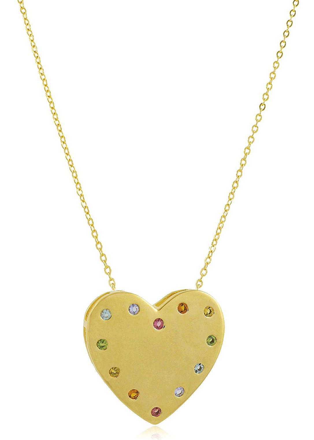 Colar Coração Luxo Pedra Colorida Dourado Duquesa Semi joias
