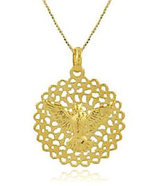 Colar Espírito Santo Pingente Dourado Duquesa Semi joias