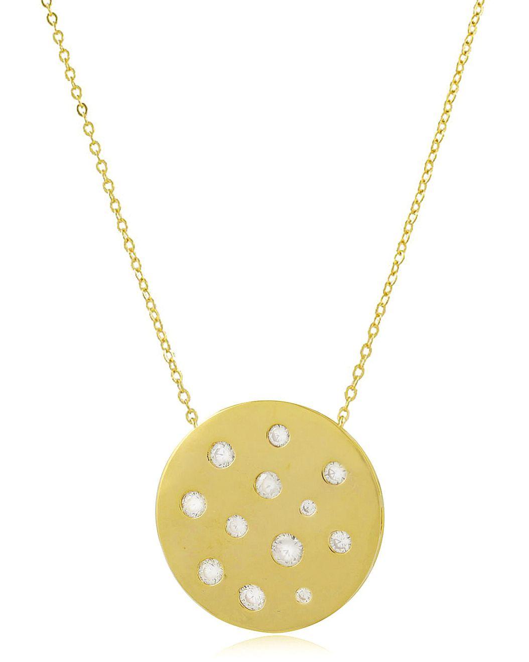Colar Círculo Luxo Zircônia Dourado Duquesa Semi joias