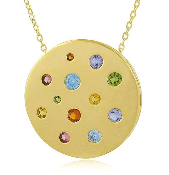 Colar Círculo Zircônia Colorida Dourado Duquesa Semi joias
