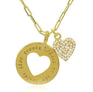 Colar Pingente Coração Zircônia Dourado Duquesa Semi joias