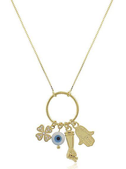 Colar Proteção Sorte Pingentes Dourado Duquesa Semi joias