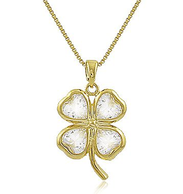 Colar Trevo Sorte Zircônia Cristal Dourado Duquesa Semi joia