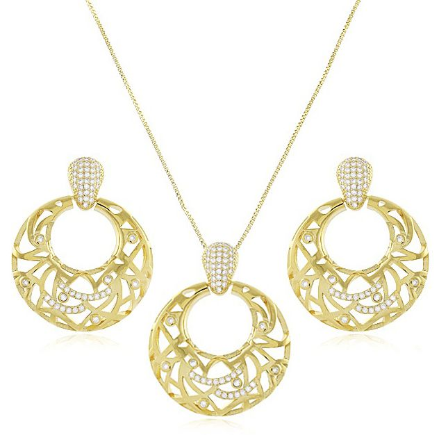 Conjunto Luxo Colar Brinco Argola Dourado Duquesa Semi joias