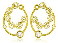 Conjunto Colar Brinco Círculos Dourado Duquesa Semi joias
