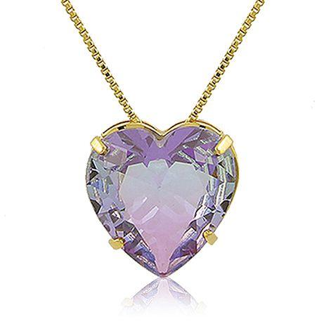 Conjunto Colar Brinco Coração Lilás Dourado Duquesa Semijoia