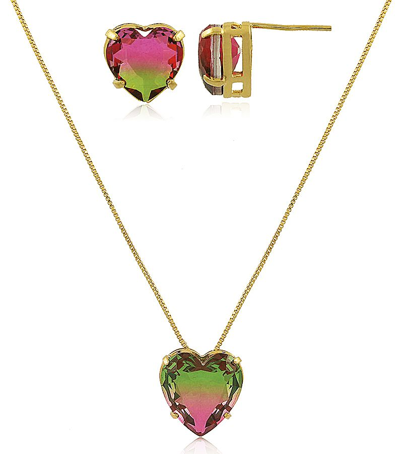 Conjunto Colar Brinco Coração Verde Rosa Dourado Semi joias