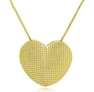 Conjunto Colar Brinco Coração Dourado Duquesa Semi joias