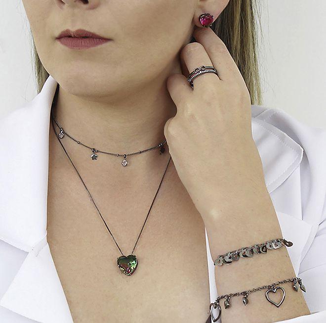 Conjunto Colar Brinco Coração Verde Rosa Negro Semi joias