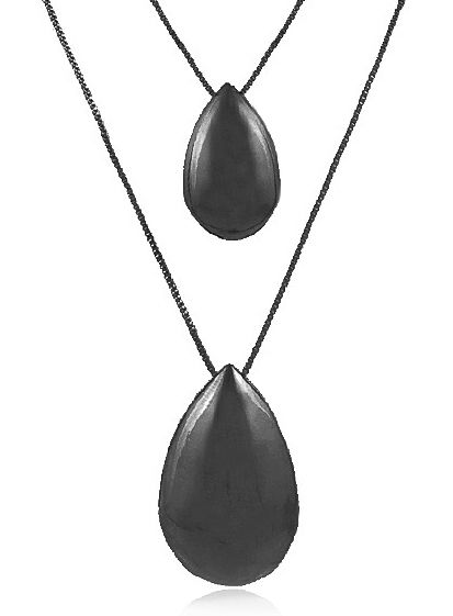 Conjunto Colar Brinco Gotas Negro Duquesa Semi joias