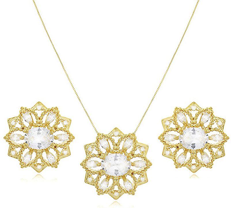 Conjunto Colar Brinco Floral Dourado Duquesa Semi joias