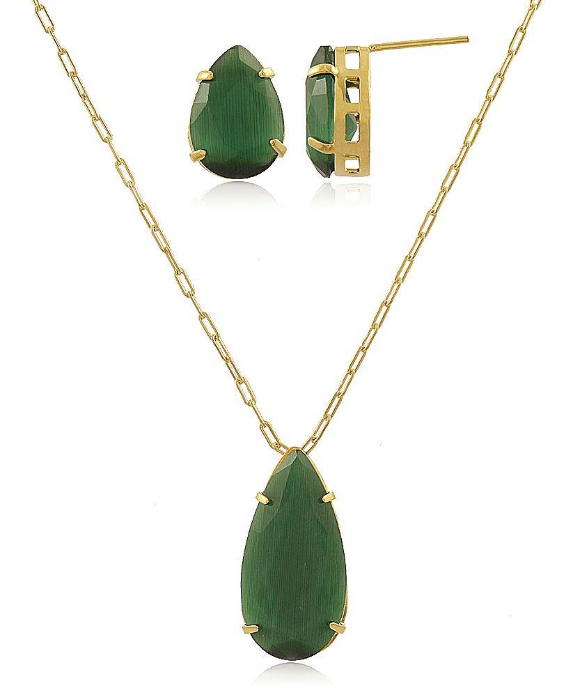 Conjunto Colar Brinco Gota Calcedônia Verde Dourado Semijoia