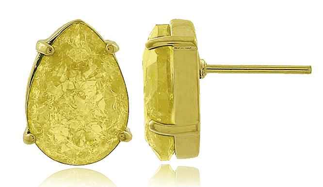 Conjunto Colar Brinco Gota Fusion Amarela Dourado Semi joia