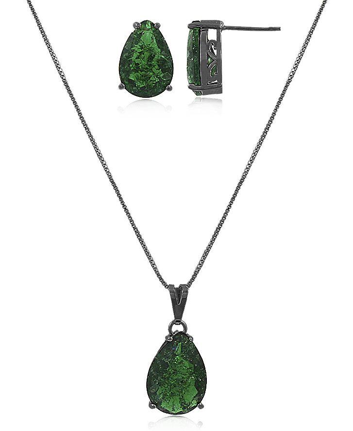Conjunto Colar Brinco Gota Verde Negro Duquesa Semi joia
