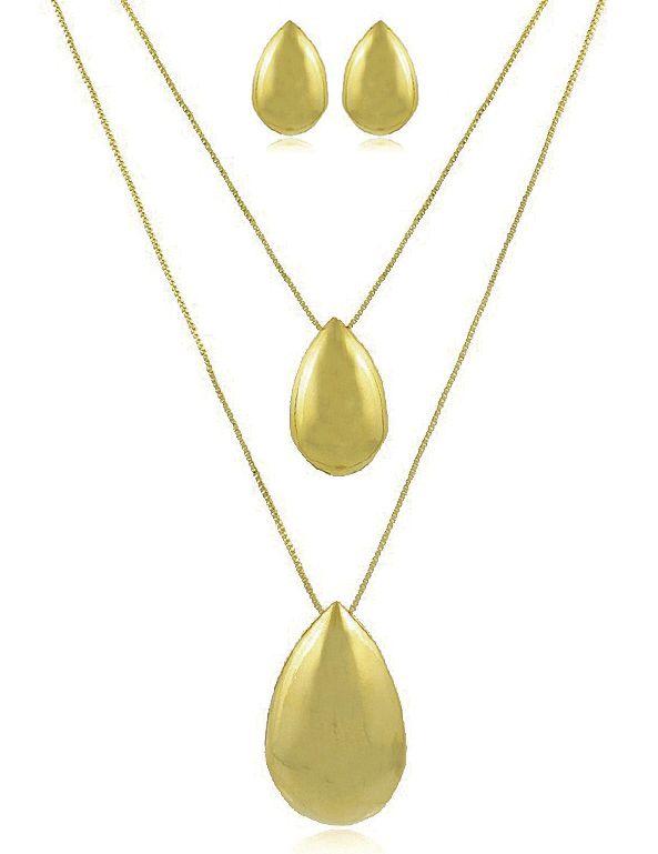 Conjunto Colar Brinco Gota Espelhada Dourado Duquesa joias