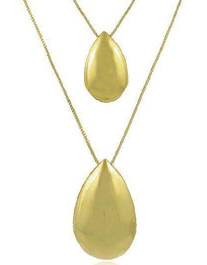 Conjunto Colar Brinco Gotas Dourado Duquesa Semi joias