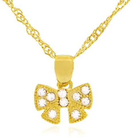 Conjunto Colar Brinco Laço Dourado Duquesa Semi joias
