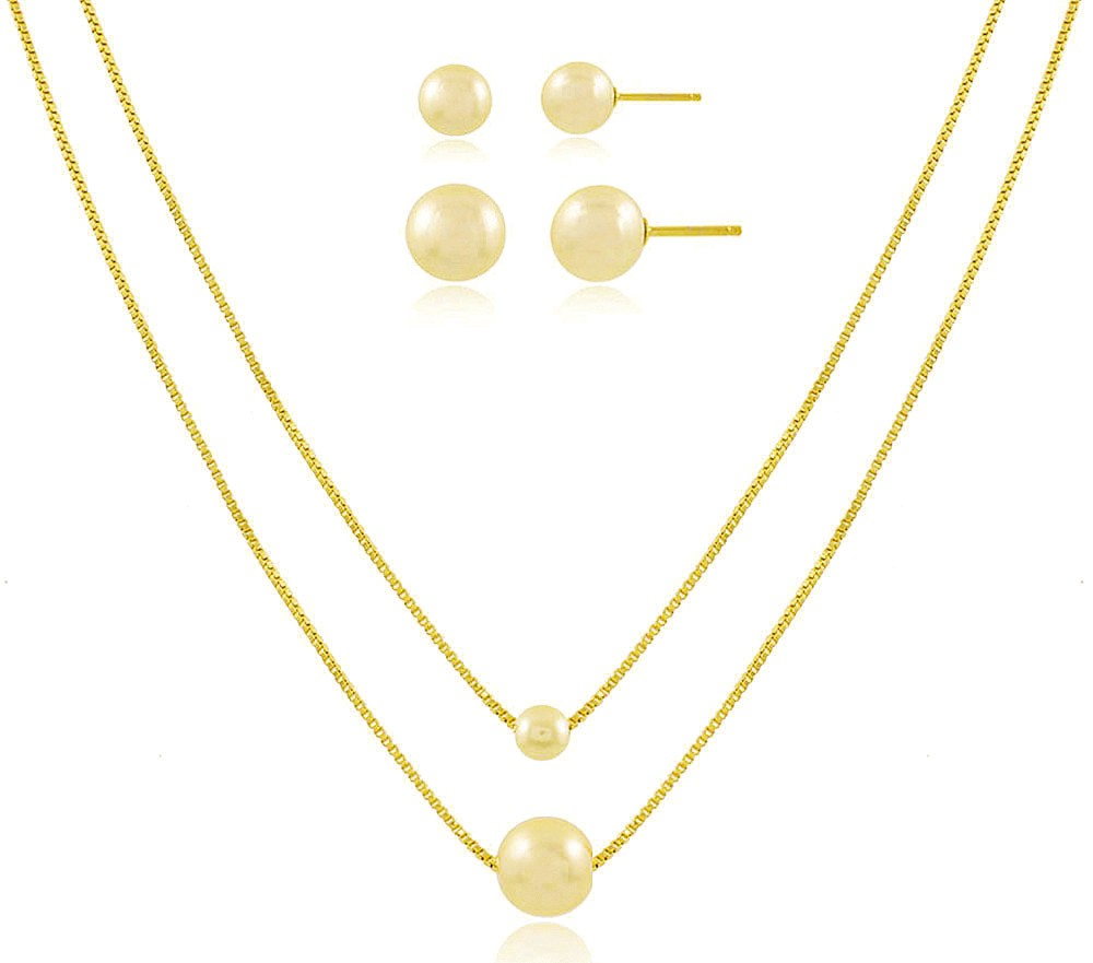Conjunto Colar Brinco Mãe e Filha Pérola Dourado Semi joias