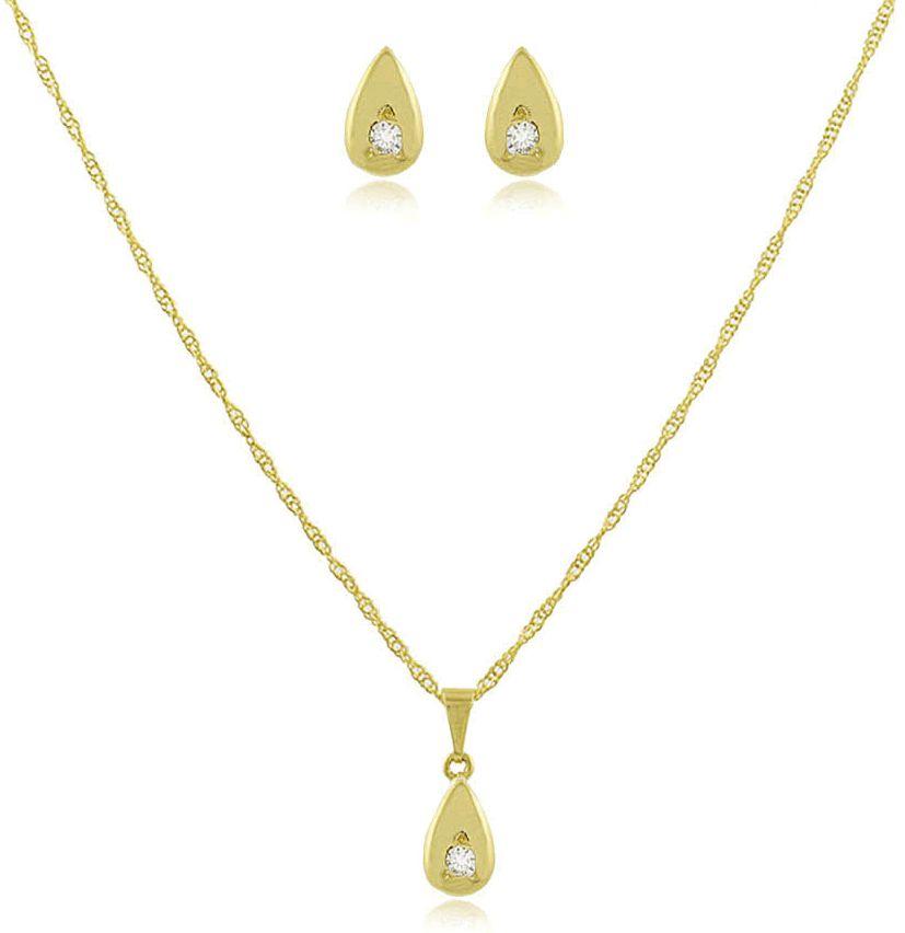 Conjunto Colar Brinco Mini Gota Dourado Duquesa Semi joias