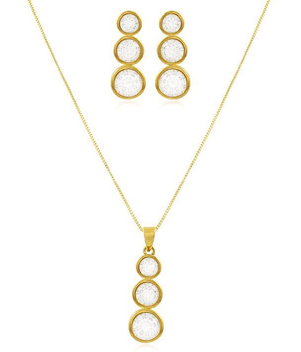 Conjunto Colar Brinco 3 Ponto Luz Dourado Duquesa Semi joias