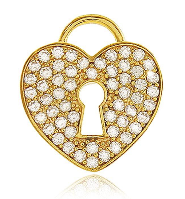 Pingente Coração Cravejado Dourado Duquesa Semi joias