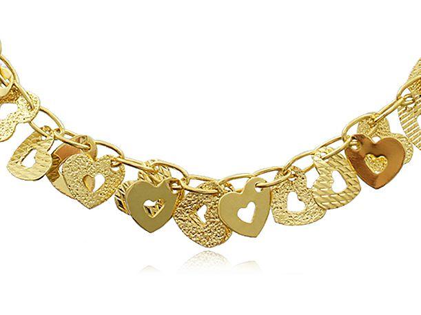Pulseira Ajustável Corações Dourado Duquesa Semi joia