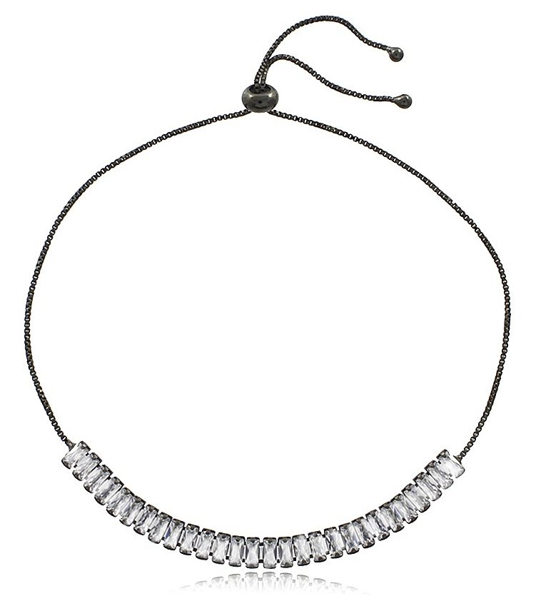 Pulseira Ajustável Luxo Zircônia Negro Duquesa Semi joias