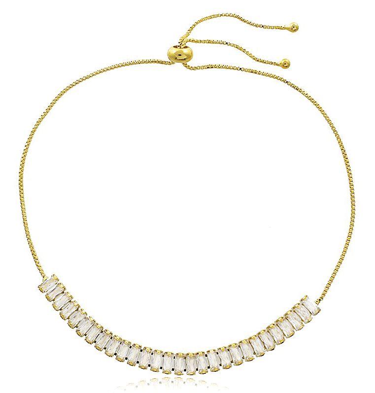 Pulseira Ajustável Luxo Zircônia Dourado Duquesa Semi joias
