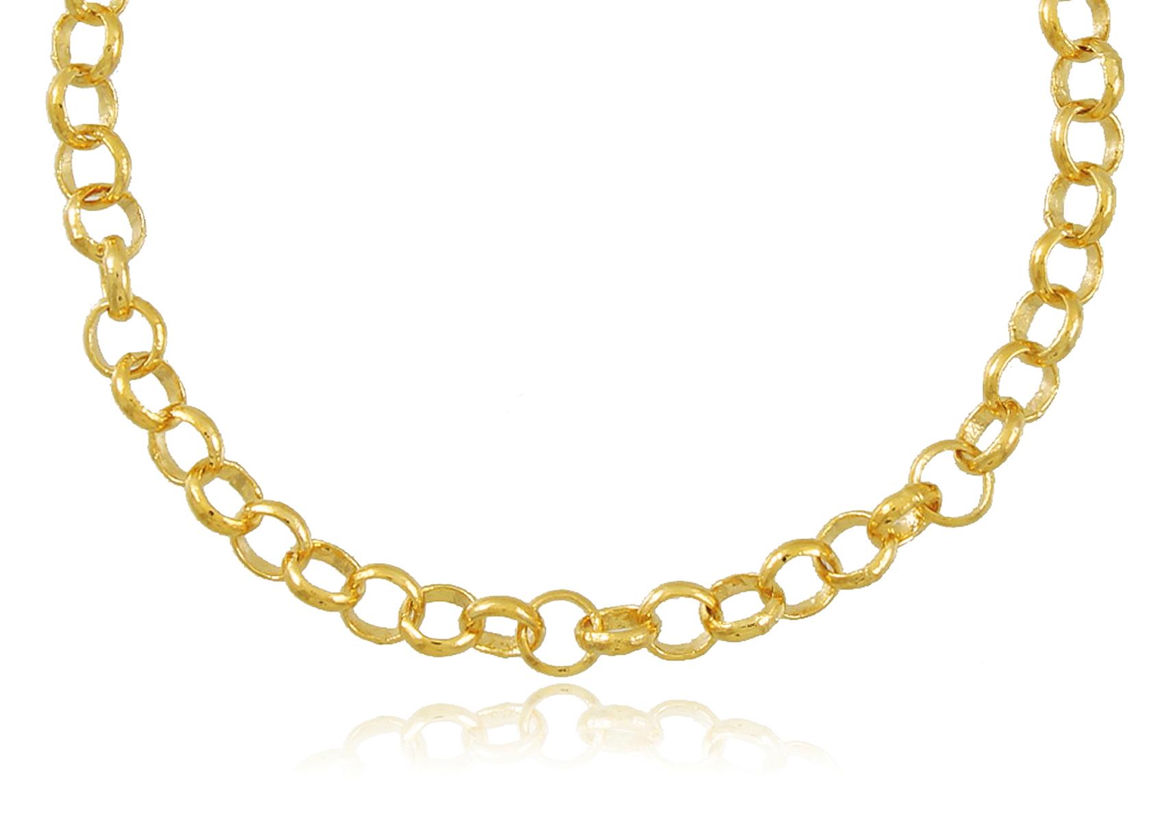 Pulseira com Elo Português Dourada Duquesa Semi joias