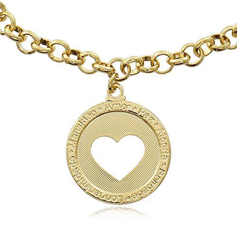 Pulseira Elos Medalha Coração Dourado Duquesa Semi joias
