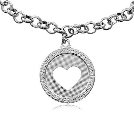 Pulseira Elo Medalha Coração Prateado Duquesa Semi joias