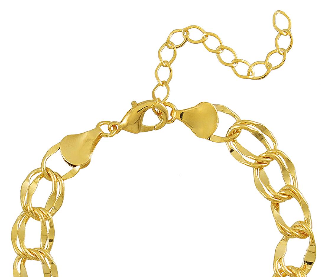 Pulseira Corrente Elo Duplo M Dourada Duquesa Semi joias