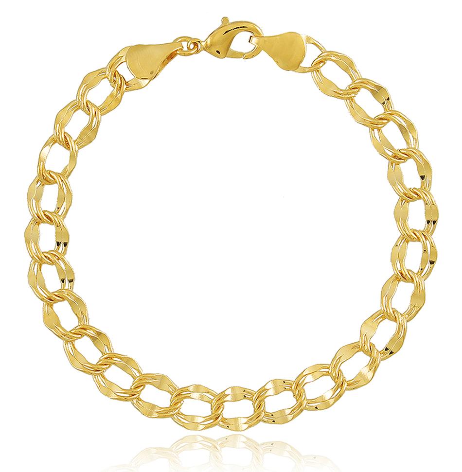 Pulseira Corrente Elo Duplo P Dourada Duquesa Semi joias