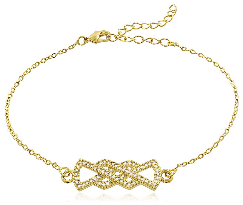 Pulseira Cravejada Zircônia Dourada Duquesa Semi joias