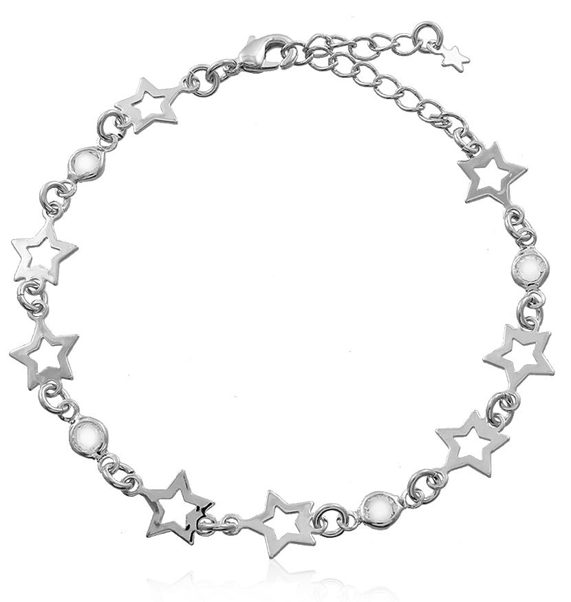 Pulseira Estrelas e Pedra Cristal Prateado Duquesa Semi joia