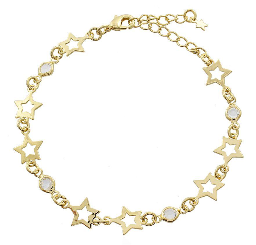 Pulseira Estrelas e Pedra Cristal Dourado Duquesa Semi joia