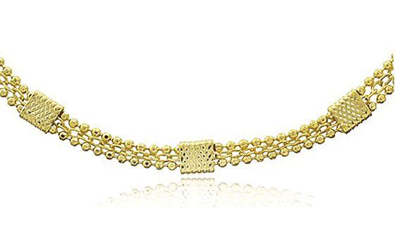 Pulseira Faixas Delicada Dourado Duquesa Semi joias