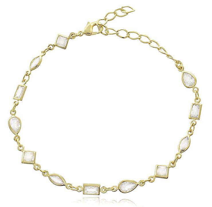 Pulseira Formas Pedras Zircônia Dourada Duquesa Semi joias