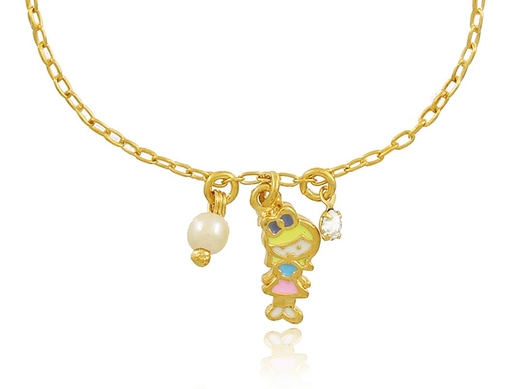 Pulseira Infantil Menina Dourada Duquesa Semi joias