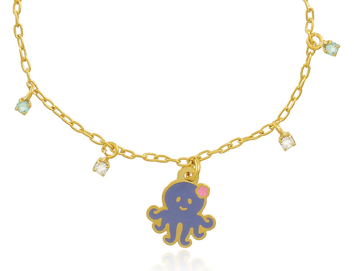 Pulseira Infantil Polvo Dourada Duquesa Semi joias